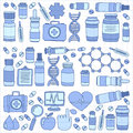 Pharmacy and medicine doodle vector pictures Royalty Free Stock Photo