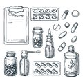 Pharmacy, medicine and healthcare sketch illustration. Pills, drugs, bottles, prescription design elements