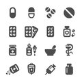 Pharmacy and pill icon set, vector eps10 Royalty Free Stock Photo