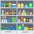 Pharmacy Shelves Background. Vector