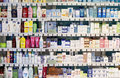 Pharmacy shop interior - cosmetic products Royalty Free Stock Photo