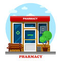 Pharmacy shop or store, drugstore building