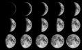 Phases of the moon day in drak sky at night time Stock Images
