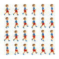 Phases of Step Movements Boy in Walking Sequence for Game Animation Royalty Free Stock Photo