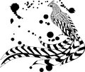 Pheasant and blurs black white reeves s Royalty Free Stock Image