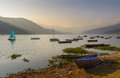 Phewa lake in pokhara nepal Royalty Free Stock Photos
