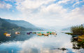 Phewa lake in pokhara nepal Stock Photo
