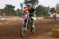 Phichit,Thailand,December 27,2015:Extreme Sport Motorcycle,The motocross competition,motocross rider jump.