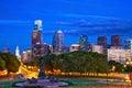 Philadelphia at dusk skyline pennsylvania usa Royalty Free Stock Photography