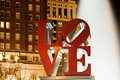 Philadelphia Love park at night Royalty Free Stock Photo