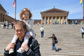 Philadelphia museum of art dad and daughter near Stock Photo