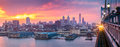 Philadelphia panorama under a hazy purple sunset Royalty Free Stock Photo