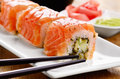 Philadelphia roll sushi on a white plate Stock Images