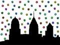Philadelphia skyline with dollars Royalty Free Stock Photo