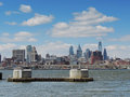 Philadelphia skyline from new jersey the view camden looking east at the downtown pennsylvania Stock Photography
