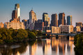 Philadelphia skyline reflected in schuylkill river on a late afternoon Stock Photo