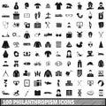 100 philanthropism icons set, simple style
