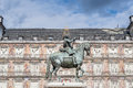 Philip iii on the plaza mayor in madrid spain bronze statue of king at center of square created by jean boulogne and pietro tacca Stock Photo
