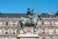 Philip iii on the plaza mayor in madrid spain bronze statue of king at center of square created by jean boulogne and pietro tacca Royalty Free Stock Photography