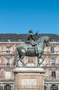 Philip iii on the plaza mayor in madrid spain bronze statue of king at center of square created by jean boulogne and pietro tacca Stock Image