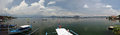 Philippines taal volcano and lake panoramic view of with the world s smallest in its center fish farms are along the shore itself Royalty Free Stock Image