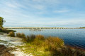 Philips inlet beautiful in the north florida panhandle area near panama city with the highway bridge in the background Royalty Free Stock Image