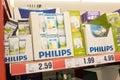Philips lightbulbs on a german supermarket shelf Royalty Free Stock Image