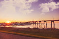 Phillip island australia small town of san remo in on a sunset evening Royalty Free Stock Photos