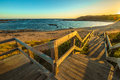 Phillip island panorama wooden boardwalks to the beach of kitty miller bay at sunset in victoria australia Royalty Free Stock Photography