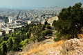 Philopapou hill near acropolis athens greece general view from the city of taken from the philopapu to the port of pirea Royalty Free Stock Photography