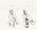 Philosopher in a barrel set of vector sketches Royalty Free Stock Images