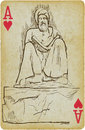 Philosopher and writer playing card with the drawn figure from the middle east description drawing consists of at least of two Royalty Free Stock Photography
