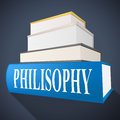 Philosophy book shows non fiction morality and reasoning representing knowledge perspective Stock Image