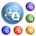 Phishing personal data icons set vector Royalty Free Stock Photo