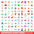 100 phisical activity icons set, cartoon style