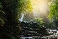 Phlio waterfall in rainy day at namtok phlio national park Thailand. Royalty Free Stock Photo