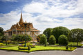 Phnom penh cambodia august workers repair care palace gardens sunny august morning Stock Photography