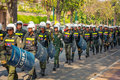 Phnom penh cambodia dec cambodian riot police march on a central streets Royalty Free Stock Photography
