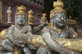 Phnom pros kompong cham cambodia buddhist sculptures at wat in Royalty Free Stock Images