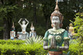 Phnom pros kompong cham cambodia buddhist sculptures at wat in Stock Photo