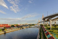 Pho watergate and shortcut canal chao phraya river thailand Stock Photos