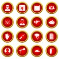 Phobia symbols icon red circle set