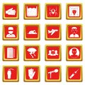Phobia symbols icons set red