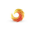 Phoenix bird and fire vector colorful icon. Abstract logo design in bright gradient colors