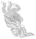 Phoenix chinese style on white background from illustrator for coloring Royalty Free Stock Images