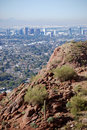 Phoenix Downtown: view from Camelback Mountain Stock Images