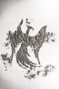 Phoenix, eagle bird drawing in ash as life, death symbol Royalty Free Stock Photo