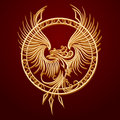 Phoenix emblem in circle bird with rising wings a ancient symbol of revival Stock Photos