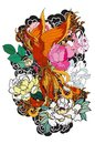 Phoenix fire bird with Peony flower and rose on cloud and wave background.Hand drawn Japanese tattoo style.Beautiful pho