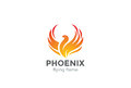 Phoenix Logo flying bird design vector.